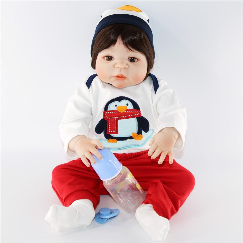 57 cm plein silicone corps garçon reborn bébé poupée jouet avec pingouin ensemble si mignon nouveau-né bébés cool poupées fille jouet reborn brinquedo