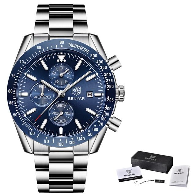 Men Watch BENYAR Top Brand Luxury Steel Business Quartz Watch Men Casual Waterproof Sports Watches Clock Relogio Masculino 2019