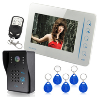 Touch Key 7LCD Wired Touch Key RFID Password Video Door Phone Doorbell Intercom System IR Camera With Remote Control