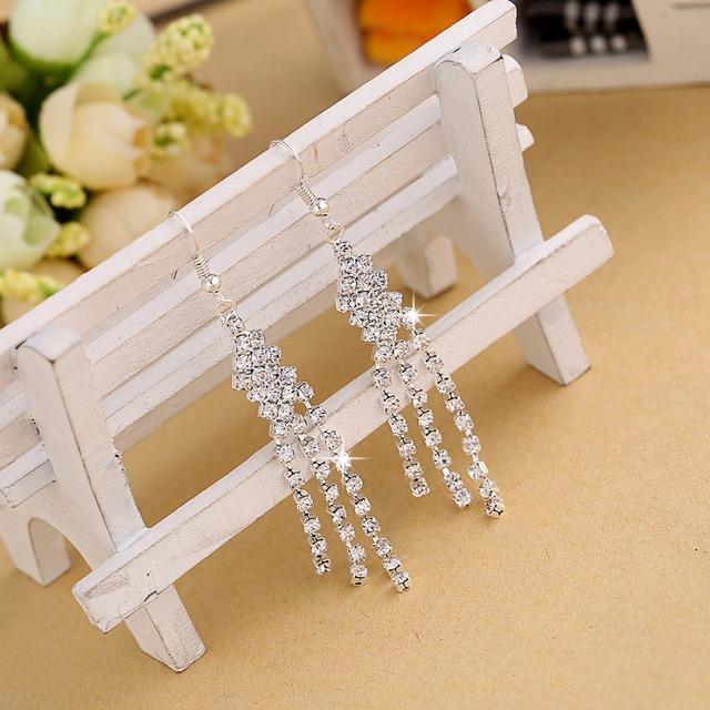 Hesiod Silver Color Women Earrings Full Crystal Long Tassel Leaf Star Pendant Earrings for Wedding Romantic Christmas Gifts