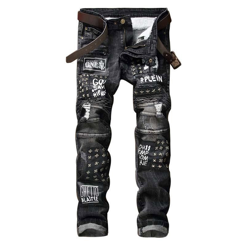 New Men Jeans Letter Printed Motorcycle Straight Jeans Drape Scratch Slim Fit Rivet Ripped Denim Trousers Black Hole Pants кабель питания tripp lite p036 006 p036 006