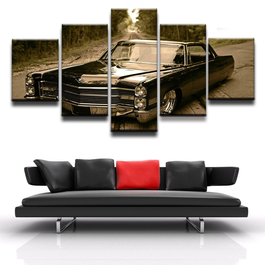 Decortive Room Artwork Poster Canvas HD Printed Modular Picture Modern Home Wall Art Framework 5 Pieces Retro Black Car Poster