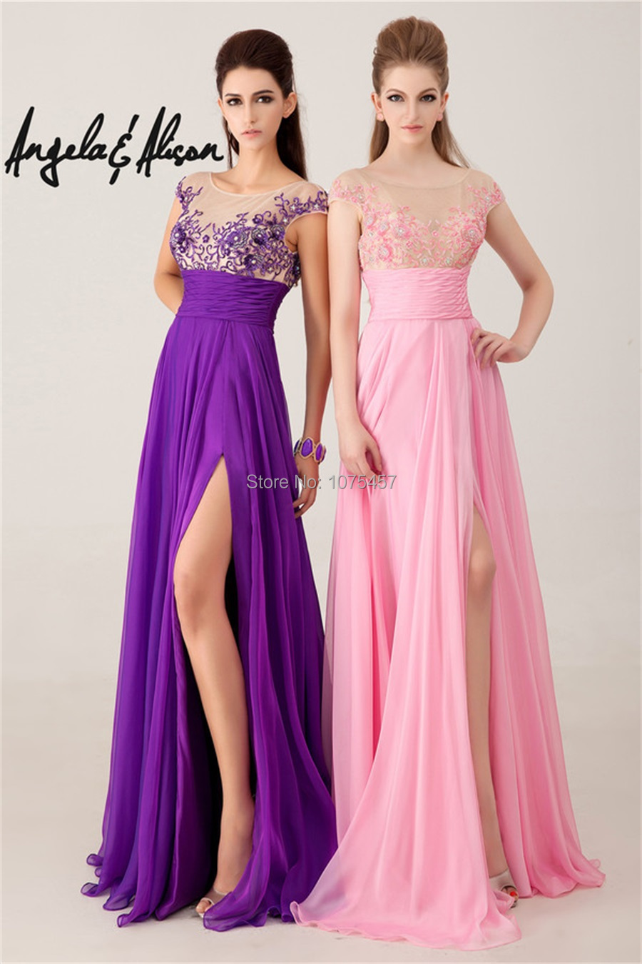 Free Shipping Embroided Sheer Neck Prom Dress High Slit Beaded 2014 ...