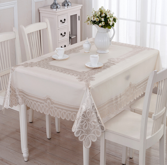 Geminbowl NEW Waterproof Home Room Table Cover Wipe Clean PVC Vinyl  Tablecloth Dining Rectangle Silver Gold