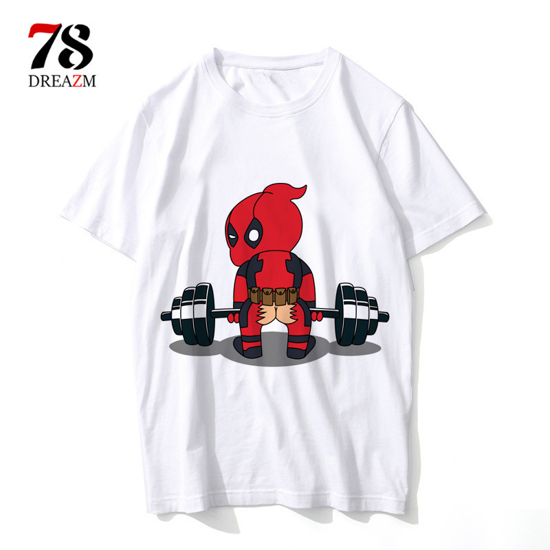 funny Deadpool   T     shirt   Printed Men fashion   T  -  Shirts   Punk Deadpool funny Design dead pool tshirt tops Street Cool tee cartoon