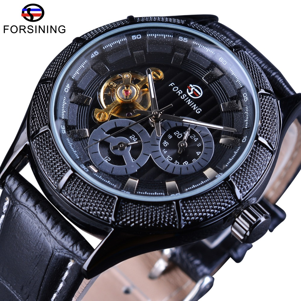 Forsining 2017 Fashion Tourbillion Design Full Black Steampunk Mens Watch Top Brand Automatic Wrist Watch Genuine Leather WatchForsining 2017 Fashion Tourbillion Design Full Black Steampunk Mens Watch Top Brand Automatic Wrist Watch Genuine Leather Watch