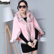Nerazzurri Pink Faux Fur Cardigan Women fluffy Rabbit Fur Cape With Fox Fur Trim Furry Rabbit Jackets Ladies Fake Fur Cloak(China)