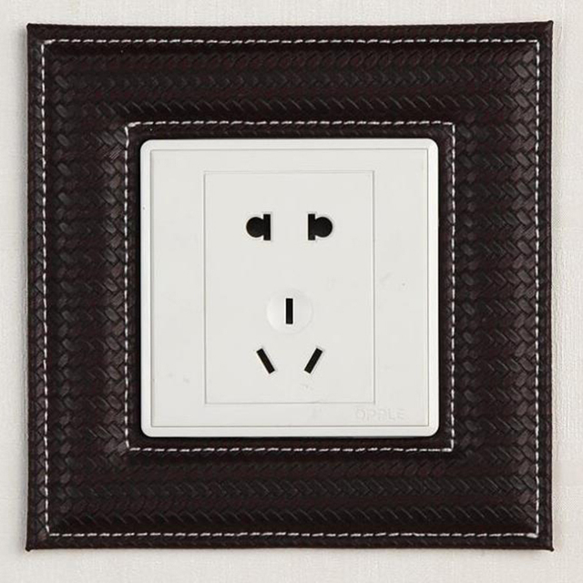 Europe Leather Switch Panel Wall Sticker Creative Self Adhesive