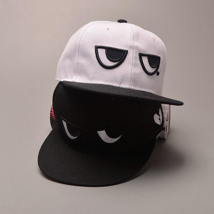 2019 Sommer Koreanische Beiläufige Männer Und Frauen Flache Krempe Hut Schwarz Und Weiß Augen Hip-hop Hut Mode Baseball Kappe Frauen Männer Hut