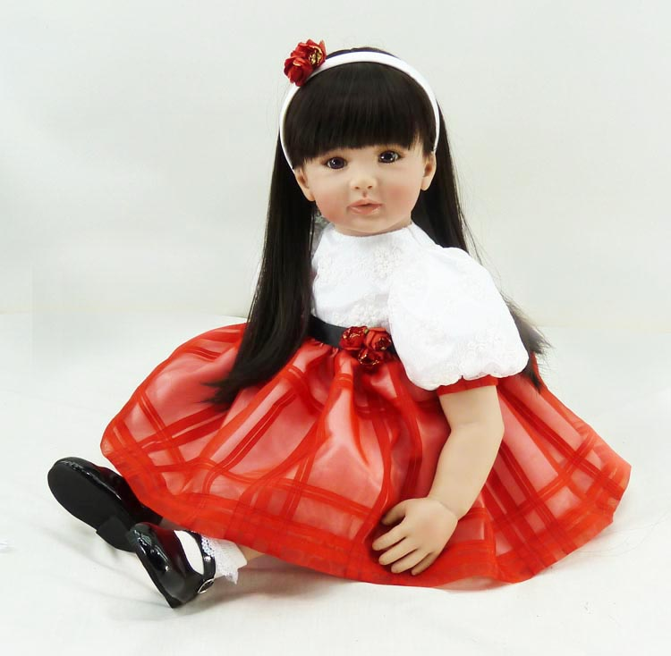 Pursue 24/60 cm Adorable in Red Dress Silicone Reborn Toddler Baby Girl Doll Toys Lifelike Princess Girl Baby Doll for Girls embossed tpu gel shell for ipod touch 5 6 girl in red dress