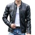 Мужская кожаная куртка стоять воротник пилот овчины пальто Мужчины тонкий молнии мотоцикла кожаные куртки jaqueta де couro Пальто