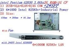 industrial 1U firewall server router 2G RAM 1G CF 6 *1000M INTEL 82583v Gigabit with2*SFP G2030 three.0Ghz Mikrotik PFSense ROS