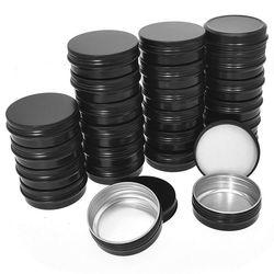 Aluminiowe puszki cynowane-24 Pack 2Oz / 60G okrągły metalowy pojemnik śrubowe puszki próbkowe pojemniki kosmetyczne świeca puszki podróżne