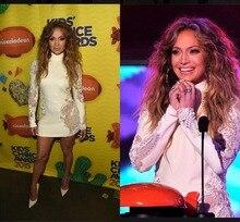2017 Sexy Inspiriert Jennifer Lopez Berühmtheits-roter Teppich Abendkleider Hoch Langen Ärmeln Spitze Mini Short Prom Party Formale Kleider