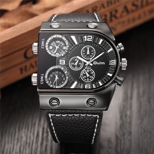 Image 3 - Oulm Watches Mens Quartz Casual Leather Strap Wristwatch Sports Multi Time Zone Military Male Clock erkek saat Dropshipping