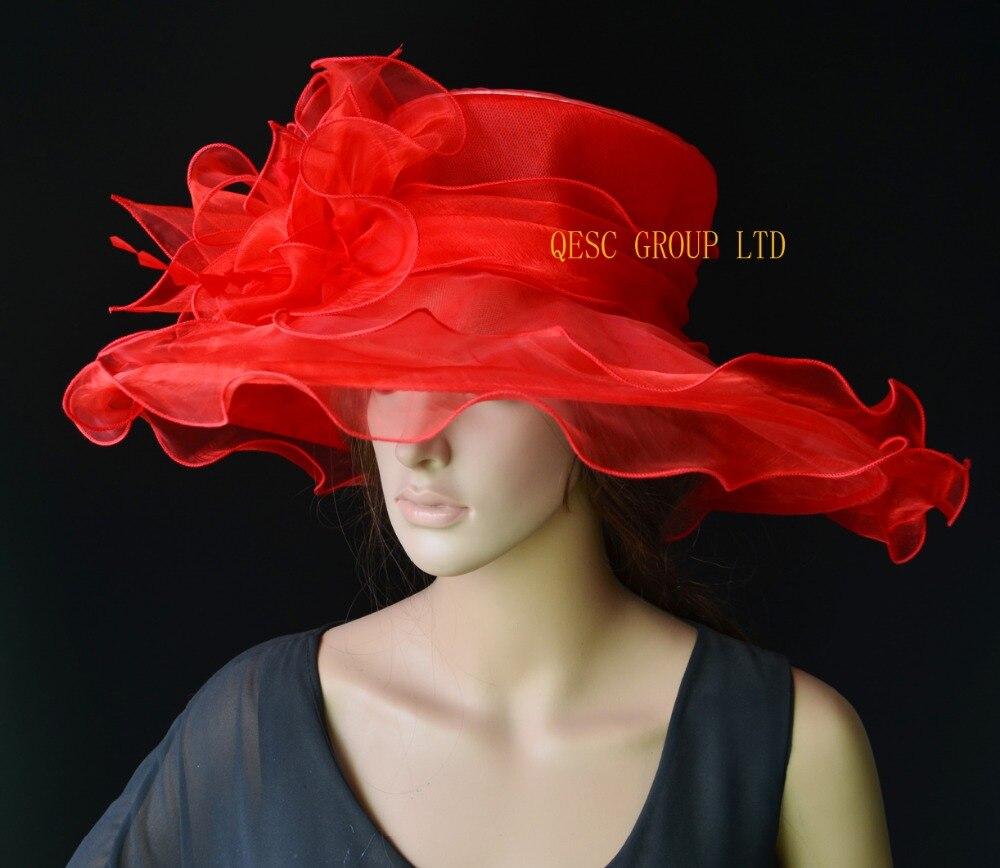 Kopfbedeckungen Für Damen SchöN Neue Rot X Große Breite Krempe Organza Hut Haar-accessoire Sinamay Fascinator Für Kirche Hochzeit Krempe Breite 15,5 Cm.