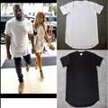 Solid Cotton Extended T Shirt Men Tyga Cool long T-shirt Low-High Short Sleeve Tee Top HB A Casual black/white Hip hop T Shirt