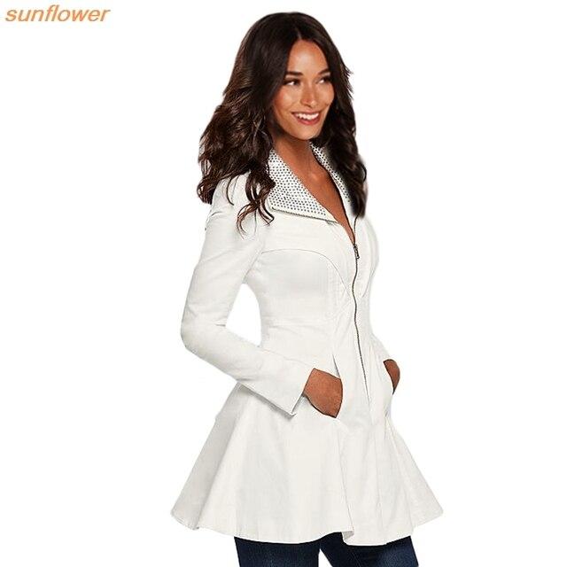 2016 Осенняя Мода Женщины С Длинным Рукавом Кардиган Верхняя Одежда Тонкий Лацкане Большой Подол Куртки Пальто Белый Топы