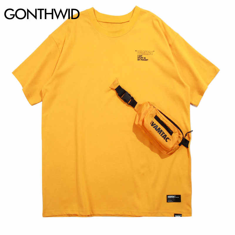 GONTHWID Front Pockets Bag Tshirts Streetwear Men 2019 Summer Hip Hop Casual Swag Tops Tees Male Harajuku Short Sleeve T Shirts