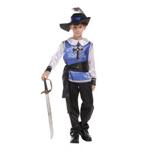 Kids Child Medieval Prince King Warrior Renaissance Middle Age Musketeer Crusader Costumes for Boys Halloween Carnival Party