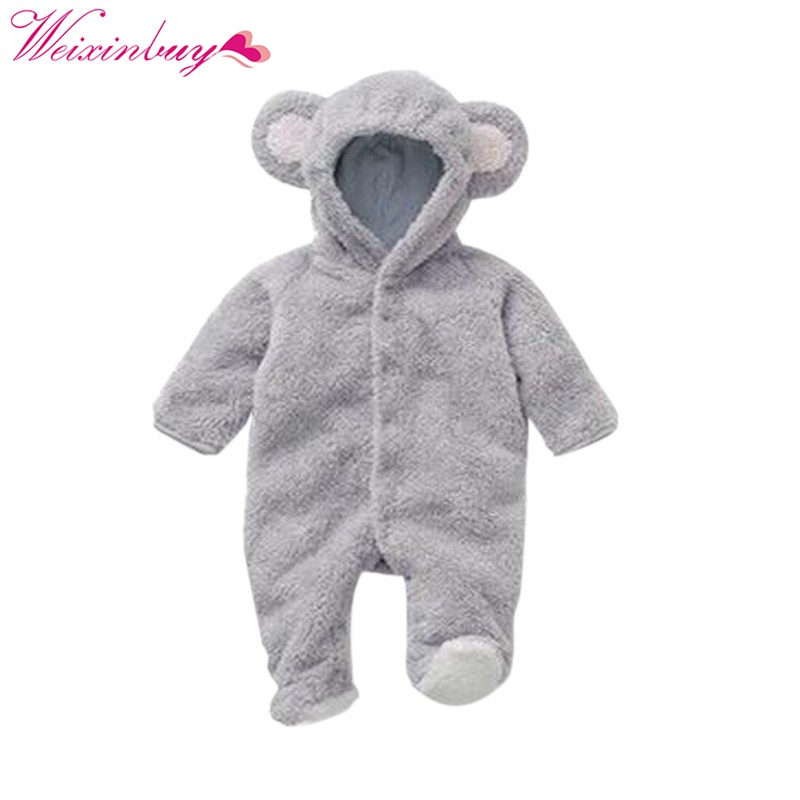 Baby Rompers Spring Baby Clothes Flannel Baby Boy Clothes Cartoon Animal 3D Bear Ear Romper Jumpsuit Warm Newborn Infant Romper summer 2018 baby boy rompers cartoon animal romper jumpsuit kids clothes infant clothing macacao ropa newborn baby rompers