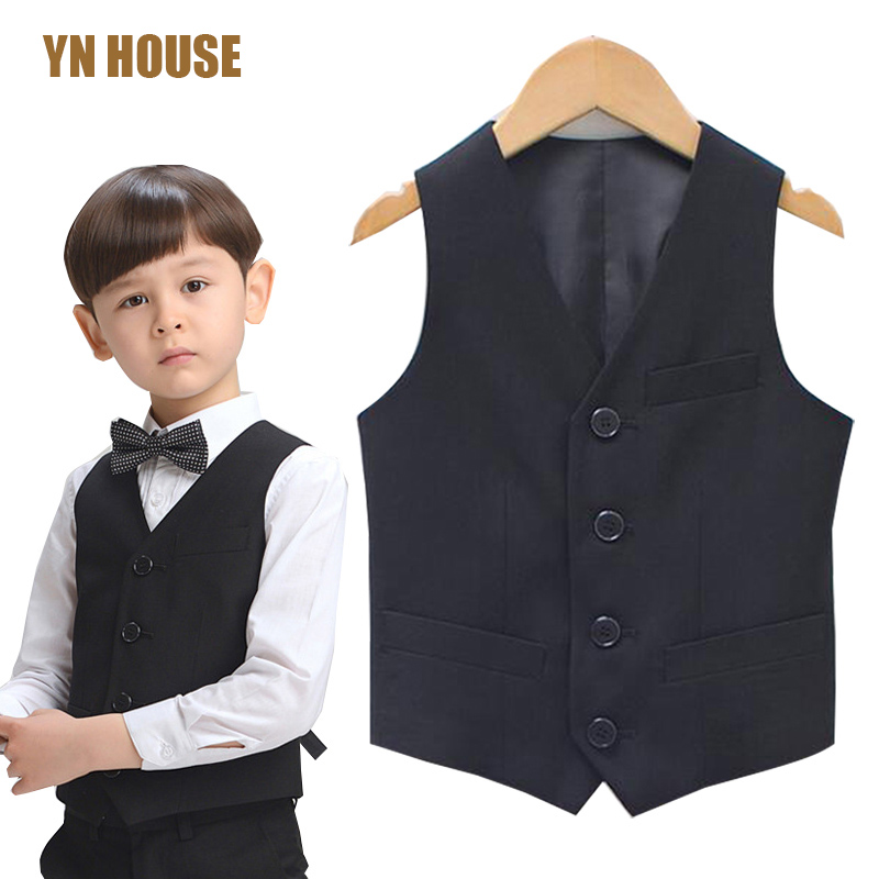 2017 Boys Vest children Waistcoat Formal Vest Kids Clothes Kids Wedding prom Fashion Boys Waistcoat Performance Navy Black