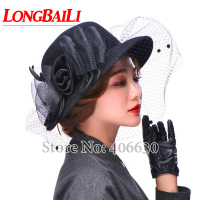 Winter Floral Wide Brim Wool Felt Hats With Net Feather Women Sun Floppy Caps Free Shipping SDDW004