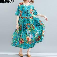 DIMANAF Plus Size Women Beach Dress Summer Sundress Cotton Female Vestidos Lady Long Print Floral Loose Big 5XL 6XL