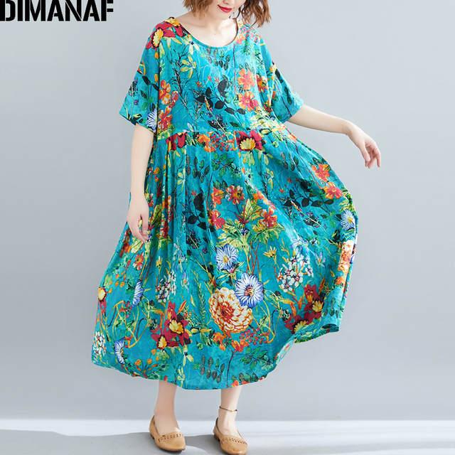 9500bcf0a6f7a US $19.21 38% OFF DIMANAF Plus Size Women Beach Dress Summer Sundress  Cotton Female Vestidos Lady Long Dress Print Floral Loose Big Size 5XL  6XL-in ...