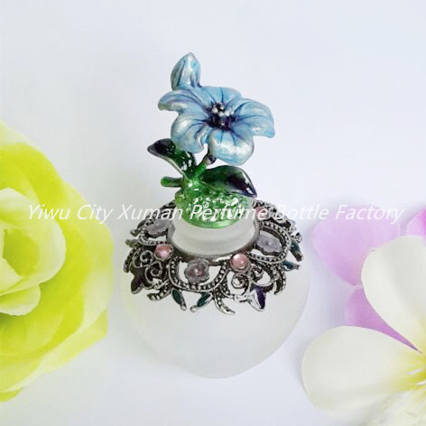Retro Metal Empty Flower Beautiful Adornment Crafts Travel Gift Makeup Perfume Bottle For Birthday Gift