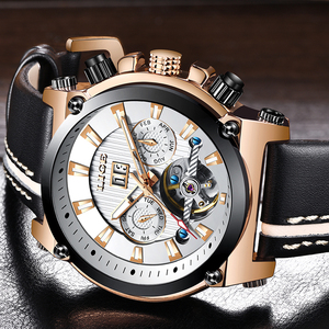 Image 3 - 2019 New LIGE Fashion Men Watches Top Brand Luxury Automatic Mechanical Watch Men Casual Leather Waterproof Sport WristWatch+Box