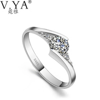 S925 Solid Silver Open Size Rings For Women Jewelry AAA Crystal 100 Real Genuine 925 Sterling