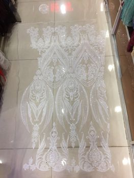 Fancy SYJ-3133 Paillette Mesh Lace Fabric High Quality sequins lace fabric