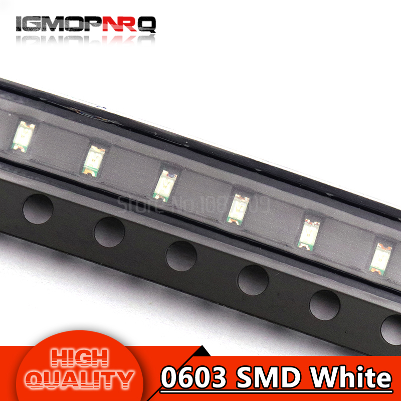 100pcs White 0603 SMD LED diodes light(China)