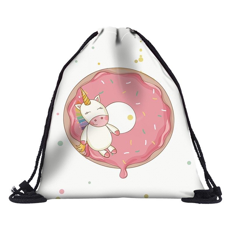 BU Store Unicorn Drawstring Bag For Girls Travel Storage Package Cartoon School Backpacks Children Birthday Party Favors