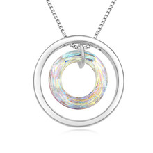 Authentic Crystal from Swarovski Luxury Circle Charms Pendant Necklace for Women Jewelry Bijoux Made with Swarovski Element(China)