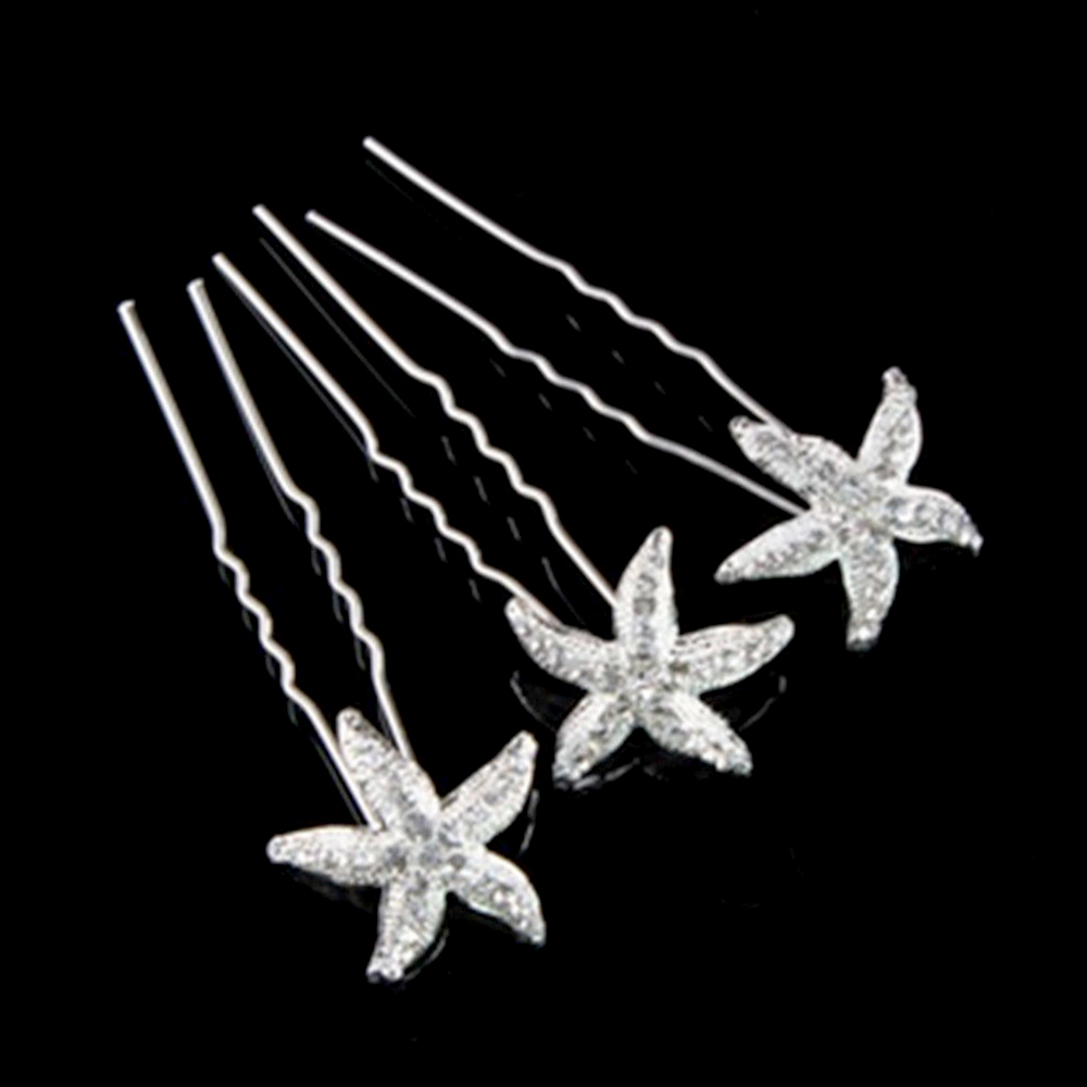 6PCS Women Wedding Bridal Bridesmaid Faux Pearl Crystal Star Starfish Hair U Pin Clip Hairpin Accessories Dropshipping