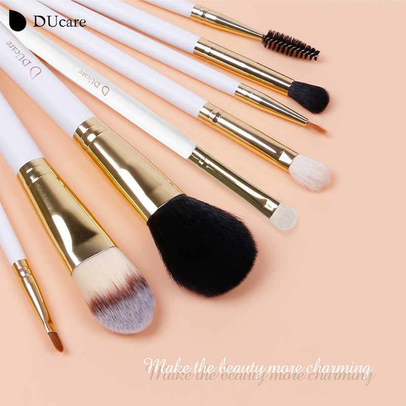 DUcare 8 sztuk pędzle do makijażu naturalne włosy zestaw pędzli do makijażu z torbą fundacja pędzel do pudru pędzle do cieni do powiek zestaw do makijażu podróży