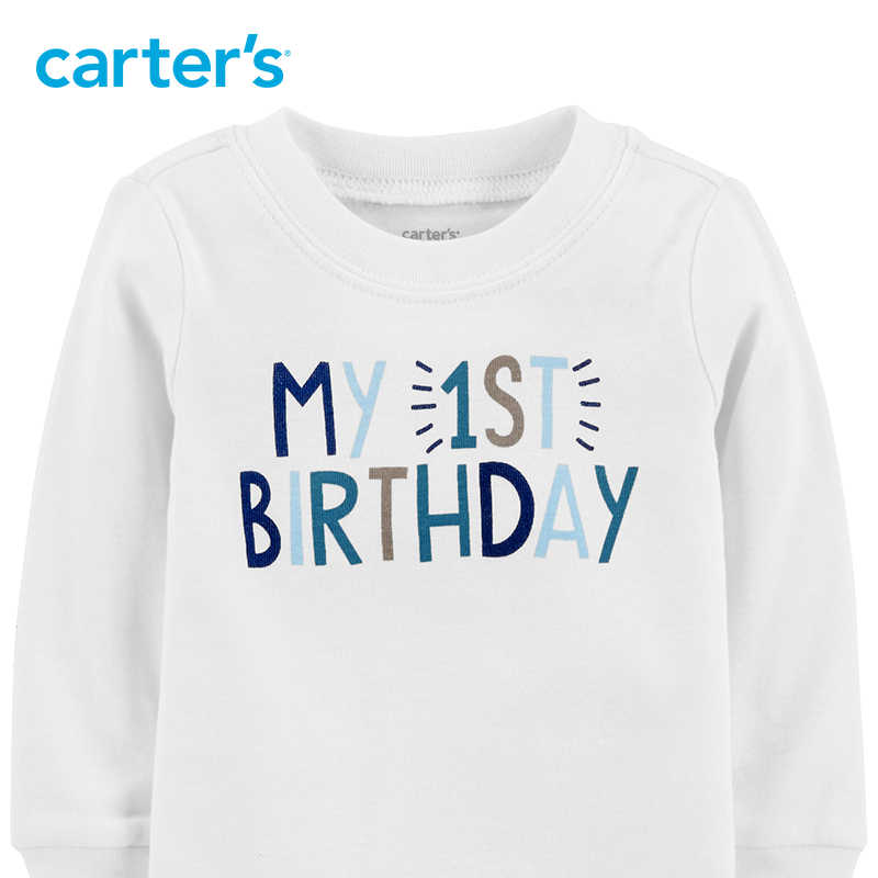 Carters My 1st Birthday Bodysuit Letter Print Long Sleeve Cotton Baby Girl Bodysuits Newborn Boy