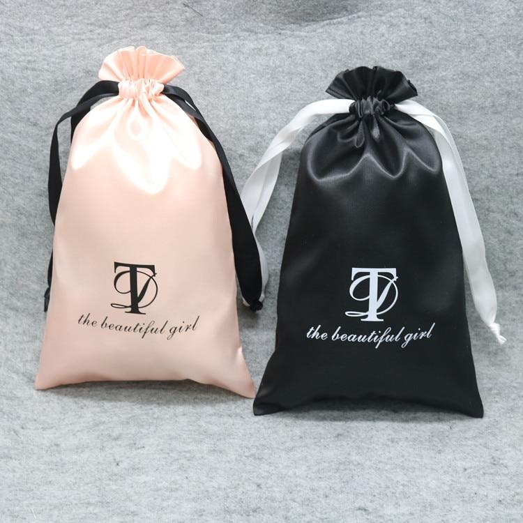 Purposeful Satin Drawstring Bags Silk Cloth Jewelry/wigs/cosmetic/packaging/eye Mask Pouches Sachet Ribbon Bag Custom Logo/size Print 100p Lustrous
