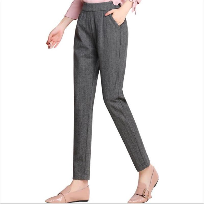 Oficina De Gruesa Las Invierno Lana 2019 Calientes Grueso Gris Terciopelo Tamaño Mujeres La Cintura Plus Lápiz Alta Pantalones 54wxAwY
