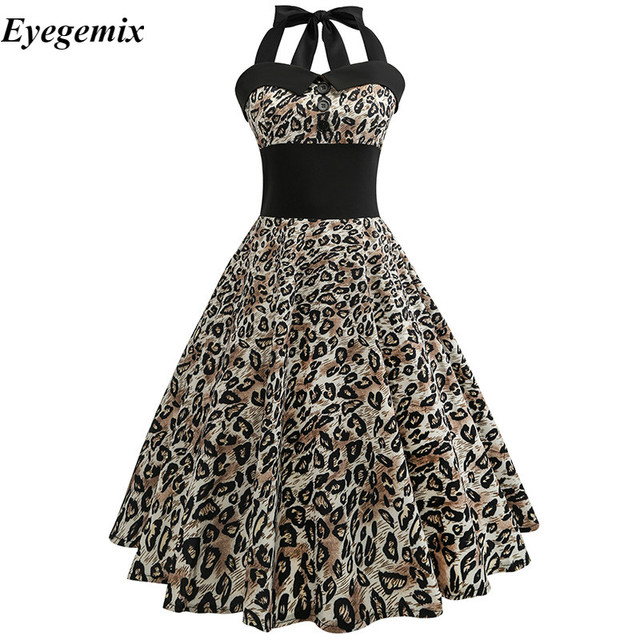 8d9f63b16b 2018 New Spring Summer Women Casual Leopard Printed Retro Dress Sexy Vintage  50s 60s A-line Audrey Hepburn Pinup Jurken Vestidos