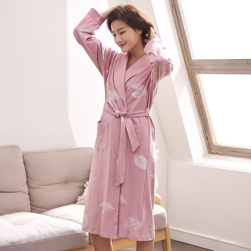 Spring 100% Cotton Couples Bathrobes Women's Robes Autumn Dressing Gowns For Women Men Female nightgowns Kimono Robe Clothes