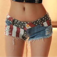 Verão das mulheres sexy shorts de cintura baixa shorts jeans boate senhora vestuário de moda da estrela da bandeira de praia quente mulheres bottoms F0060