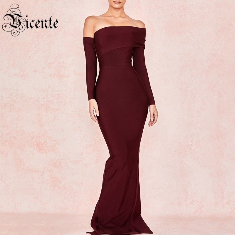 Vicente All Free Shipping 2019 New Chic Sexy Off The Shoulder Drape Design Long Sleeves Celebrity