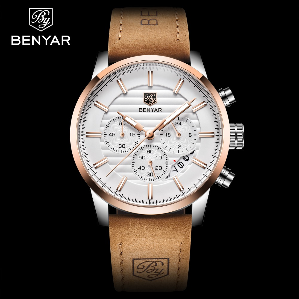 HTB1d9xbXsrrK1RjSspaq6AREXXau - BENYAR Top Brand New Casual Fashion Men Quartz Watch Luxury Military Leather Strap Chronograph Men Watch Relogio Masculino