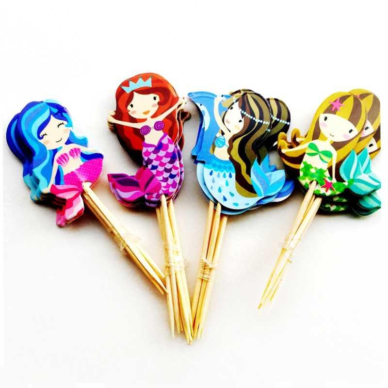 24 шт./лот с рисунком «маленькая русалочка» для принцессы в стиле Ариель украшения для кексов с изображением персонажей из мультфильма и торта украшения для вечеринок детский душ день рождения пользу