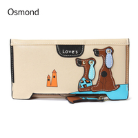 AEQUEEN Cute Dog Wallet Women Long Purses Lovely Preppy Wallets Zipper Hasp Lady Coin Purse Patchwork