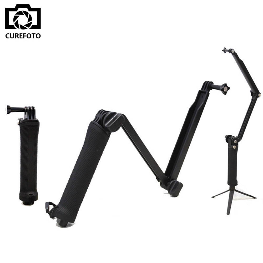 New GoPro Accessories Collapsible 3 Way Monopod Mount Camera Grip Extension Arm Tripod for Gopro Hero 4 2 3 3+ 2 1 SJ4000 SJ5000