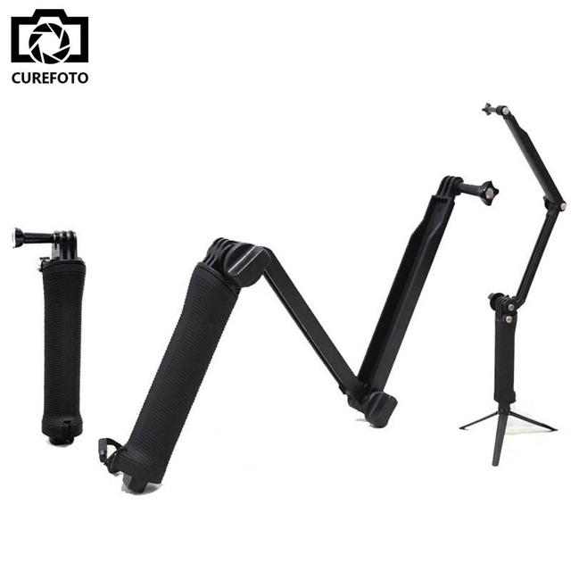 Collapsible 3 Way Monopod Mount Camera Grip Extension Arm Tripod for Gopro Hero 4 2 3 3+ 2 1 SJ4000 SJ5000 For GoPro Accessories